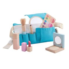 The Plan Toys wooden make-up set is perfect for your budding make up artist! Get ready to play beauty parlours, but without the mess. Just like the professionals, this toy makeup set comes with a waist tool belt to store your makeup essentials in, Powder Lipstick, Kajal, Plan Toys, Makeup Set, Makeup Brush, Kids Wood, Makeup Essentials, Sensory Toys, Imaginative Play