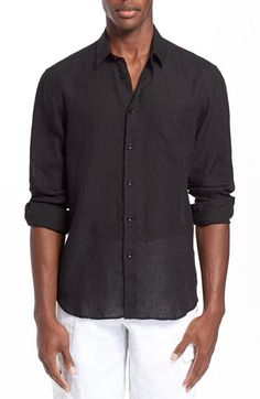 Vilebrequin 'Caroubier' Linen Shirt available at #Nordstrom