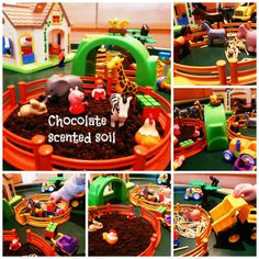 Tuffspot play Farmworld with chocolate scented soil- opportunities for imaginative play and mark making Play Based Learning, Learning Through Play, Farm Activities, Preschool Ideas, Teaching Ideas, Chocolate Soil, Tuff Spot, Role Play Areas, Dramatic Play Area