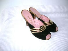Vintage 1950s Wedge Heeled Sandals Black Suede Strappy 50s Italian Bombshell