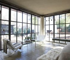 Home Design Inspirations, Fascinating Custom Steel Windows Ideas With Antique Timbers And Contemporary Bedroom Chairs Also Garden Views Plus White Rug: The Benefits of Steel Frame Home Designs Steel Windows, Windows And Doors, Ceiling Windows, Steel Doors, Large Windows, Black Windows, Casement Windows, Birmingham, Modern Bedroom