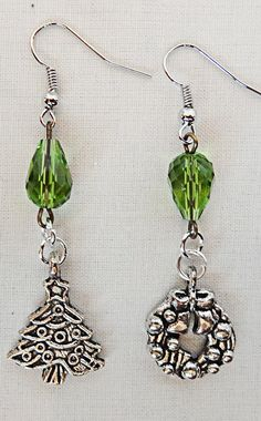 Christmas earrings, Christmas jewelry, Christmas wreath, Christmas tree, green acrylic bead, holiday earrings, holiday jewelry, wreath charm