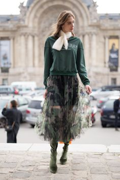 If you think camo and tulle don't go together, just look at Taiana Sperotto's skirt. It's both edgy and fem...