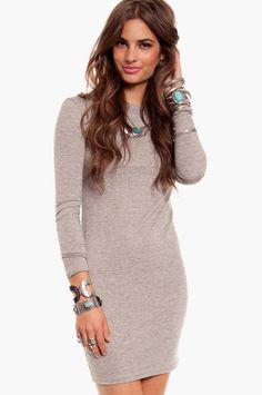 Gray Long-sleeve Tee Dress.  With leggings underneath obsessed