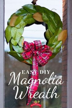 Learn how to create a magnolia wreath with a grapevine wreath, magnolia leaves, and hot glue! This easy DIY Magnolia Wreath will be a holiday favorite! Christmas Decor   DIY Christmas Decor