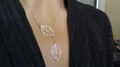 Matte Silver Leaves necklace by 4everchic via Etsy