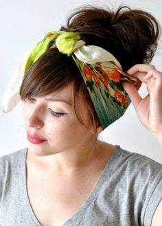 Wrap up your hair in a scarf to get this look.