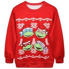 Chic Round Collar Long Sleeve Cartoon Print Women's Sweatshirt ($22) ❤ liked on Polyvore featuring tops, hoodies, sweatshirts, sweatshirt hoodies, cartoon sweatshirts, red sweat shirt, red long sleeve top and long sleeve sweatshirt