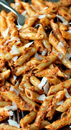 Penne with Sun-Dried Tomato Pesto ~ This pasta is simple to make yet packed with flavour. Quick, tasty and sure to be a hit with family and friends!