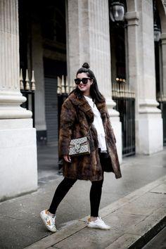 golden goose deluxe brand sneakers fur coat vintage streetstyle paris 2017-6