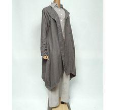 gray linen coat