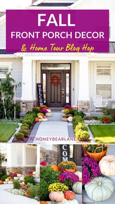 Who doesn't love seeing gorgeous Fall decor? I'm so excited to share my Front Porch project with you today! We also have a FABULOUS group of bloggers ready to share a beautiful, fall home tour with you! Head on over to the fall blog hop on my post. Fall front porch decorating ideas. Easy fall decor outside front porch. Fall pumpkin decorating ideas. Mums In Pumpkins, Autumn Display, Fall Displays, House With Porch, Front Entry, Front Doors, Screen Doors, Porch Decorating, Decorating Ideas