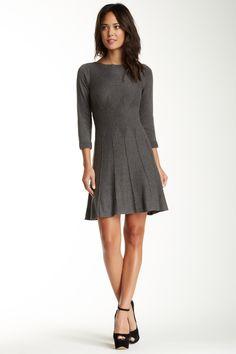 Max Studio Textured Flared Sweater Dress