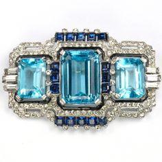 Art Deco Mazer Pave Aquamarine + Sapphire Bar Pin