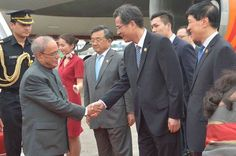 #PresidentMukherjee arrived at Guangzhou China; received by Mr. He Zhongyou Vice Governor of Guangdong.