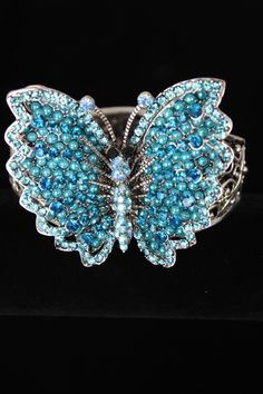 Turquoise Crystal and Bead Butterfly Cuff Bracelet. Only $24.99!
