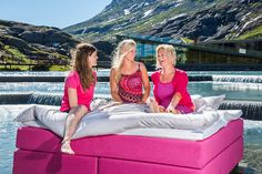 Wonderland beds supporting the Pink Ribbon Campaign in Norway. Photo from Trollstigen Mountain Road, 15 minutes drive from our factory in Åndalsnes, Norway. Wonderland, New Beds, Outdoor Furniture, Outdoor Decor, Norway, Campaign, Ribbon, Mountain, Pink