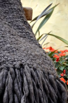 Chunky Blanket Throw - Flame Brown Wool | Homelosophy