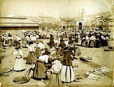 Av. 24 de Julho, Mercado da Ribeira ao fundo - c.1890