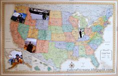 Map Travel Photo Collage: will definitely do this, just need to visit more provinces first (would swap US map for Canadian one).