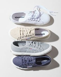 These Superga tennis sneakers are attractive with enduring comfort with a pure cotton canvas upper and a wear-resistant vulcanized rubber sole. By Superga, known as the makers of the people's shoe of Italy.