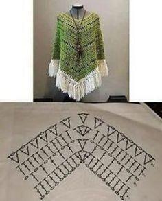 Boho Poncho pattern by HaakTrend by Fieke de Rooy - Her Crochet Poncho Au Crochet, Crochet Poncho Patterns, Freeform Crochet, Crochet Cardigan, Knit Crochet, Poncho Shawl, Crochet Bookmark Pattern, Crochet Bookmarks, Crochet Chart