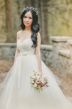 Wedding Dress with a Lace Bodice and Full Chiffon Skirt | Kristen Booth Photography | Enchanting Mountain Bridal Portraits in a Fairy Tale Forest