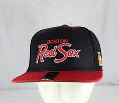 29711a6655cc7 Boston Red Sox Black Red MLB Baseball Cap Snapback NWT