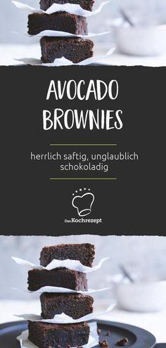 Herrlich saftig, unglaublich schokoladig: Diese Avocado Brownies krönen jedes M… Wonderfully juicy, incredibly chocolaty: These avocado brownies crown every menu. Chewy Brownies, Cocoa Brownies, Healthy Brownies, Brownie Toppings, Brownie Desserts, Oreo Dessert, Brownie Recipes, Brownie Bites, Avocado Dessert