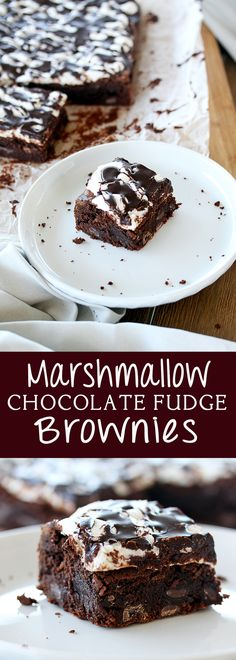 Chocolate Marshmallow Brownies. Moist and fudgy chocolate brownies, topped with gooey melted marshmallows and a chocolate glaze. By Sugar Salt Magic via @sugarsaltmagic
