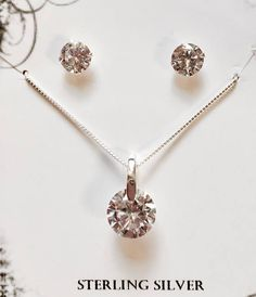 CZ with Sterling Silver Bar Pendant Necklace and CZ with