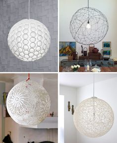 13. Diy pendant light tutorial for DIY light tutorials: ; Paper cup light /Wire orb /Lace lamp /Yarn pendant lights plus many more : links from this website