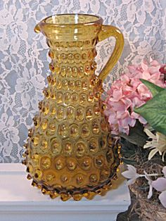 1000 images about amber colored vintage glassware on pinterest amber glass amber and vintage - Bobble water pitcher ...