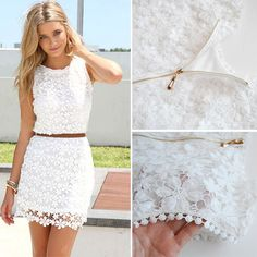 Fashion Round Neck Sleeveless Hollow Out Lace Dress