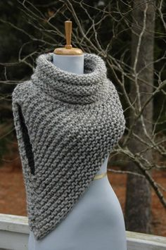 Katniss Cowl Catching Fire Huntress Vest Hand Knit in Neutral Gray Mar