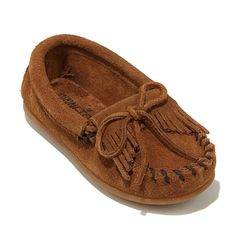 Minnetonka Child's Kilty Suede Loafer Moccasin - Dusty Brown