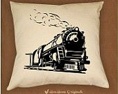Personalized Train Pillow Cover, Locomotive Pillow, Railroad Decor, Custom Train Pillow with Name, Industrial Decor