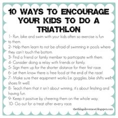 10 Ways to Encourage Your Kids to Do a Triathlon - The Things I Love Most Kids Triathlon, Love My Family, Bike Run, Sign Quotes, Fun Workouts, Activities For Kids, Encouragement, Swimming, Learning