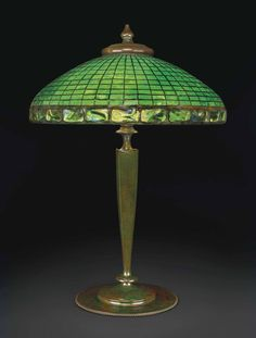 """** Tiffany Studios, New York, Favrile Leaded Glass and Patinated Bronze """"Turtleback"""" Lamp."""
