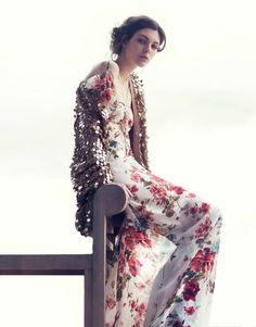 """flowers and sequins /// """" Vittoria Ceretti by David Bellemere for Vogue China via VF """""""