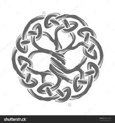 Celtic Tree of Life emblem isolated on white