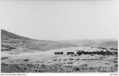 View of a camp at Talaat ed Dumm.  Tents are on the hill in the background and horse lines are to the right.  Note the barren countryside.  This is the third image in a six part panorama.  Ottoman Empire: Palestine, Talaat ed Dumm, c 1918