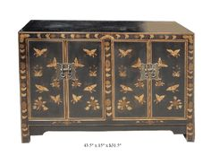 Chinese ChaoZhou Golden Lacquer Butterfly Pattern Console Table Cabinet - Golden Lotus Antiques