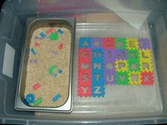 Letter Puzzle Search-easy and mess is contained in plastic bin