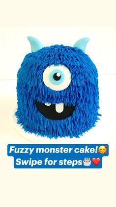 Monster Birthday Cakes, Monster Party, Monster Cakes, 1st Birthday Foods, Cute Birthday Cakes, American Buttercream Recipe, Buttercream Cake, Frosting, Easy Cake Decorating