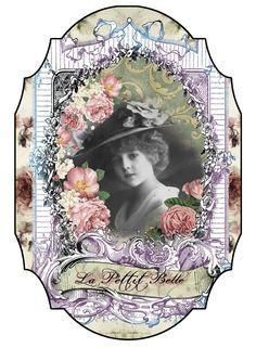 Vintage print label. Belle