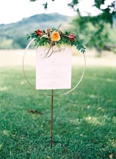 Wedding Menu Display, photo: Elisa Bricker, Styling and Planning: Sage Nines Event Production