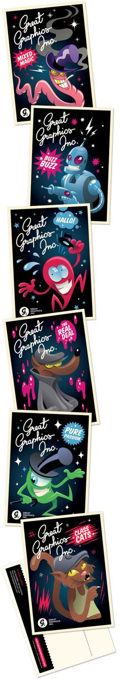 Self promotion postcards by Great Graphics Inc. , via Behance