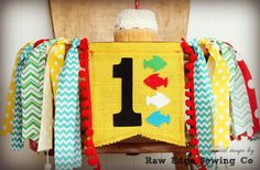 DR SEUSS One Fish Two Fish Birthday High Chair by RawEdgeSewingCo
