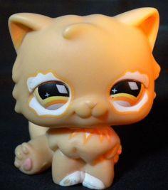 LITTLEST PET SHOP LPS Peach Orange & White Persian Kitty Cat w Diamond Eyes #490 #Hasbro